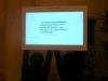 Il monitor che mostra in tempo reale i tweet con tag #bma2012 — con Daniele Capra presso Sala Ajace.